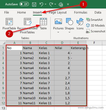Cara Membuat Header Tabel di Excel - Tampilan Rapi