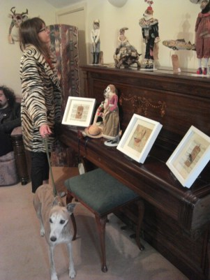 Victoria and Watson admiring Annie Hutchinson's anthropomorphic creatures