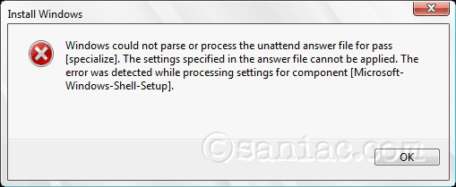 Windows could not parse or process the unattend answer file...