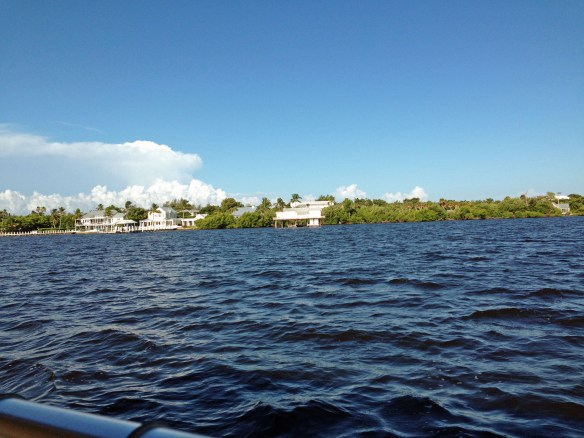 "A view of Ding Darling's fish house on Roosevelt Channel taken from the ""Santiva"" heading to Pine Island Sound, 8/20/13"