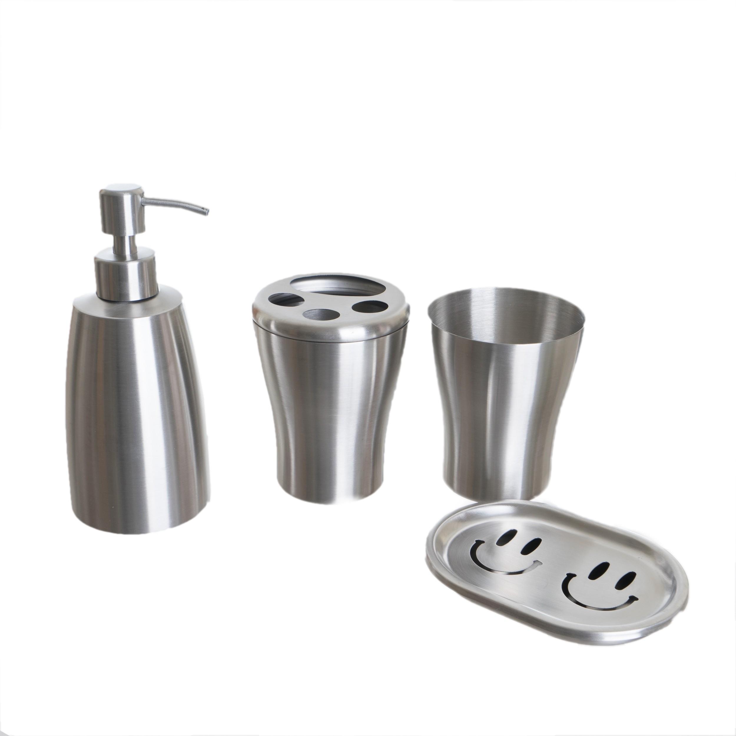 accessoire salle de bain en inox chrome 4 pcs