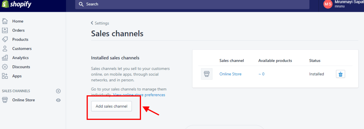 add sales channel