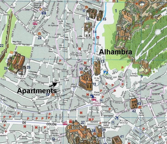 located in the most central part of the Albayzin, 300m from Plaza Nueva & 800m from the Alhambra