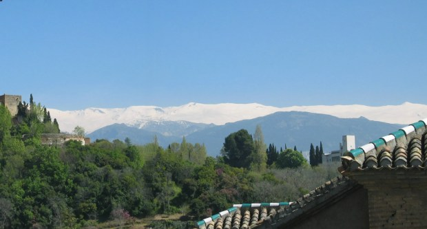 view of the Sierra Nevada from the terrace