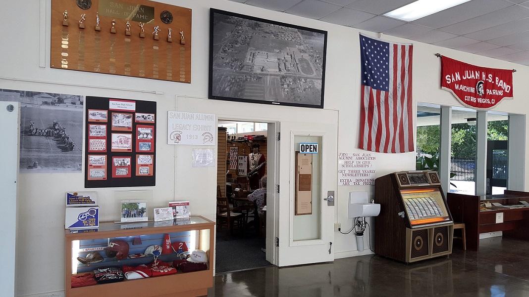 San Juan Alumni Association Legacy Exhibit - Entrance in SJHS Cafeteria