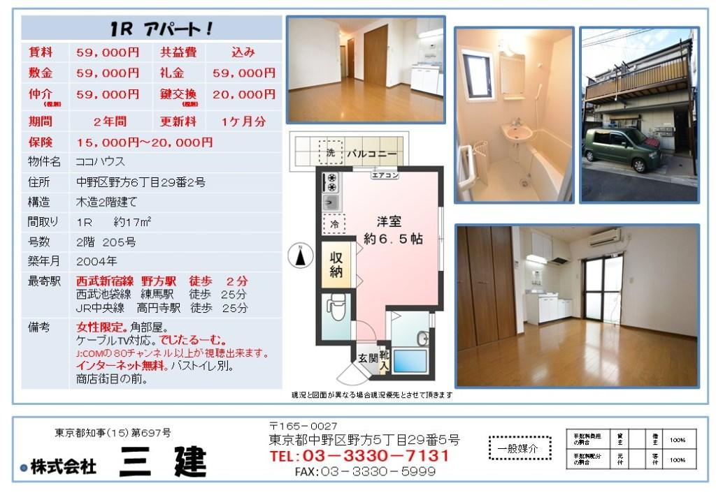 中野 野方 不動産 賃貸アパート 1R ココハウス205