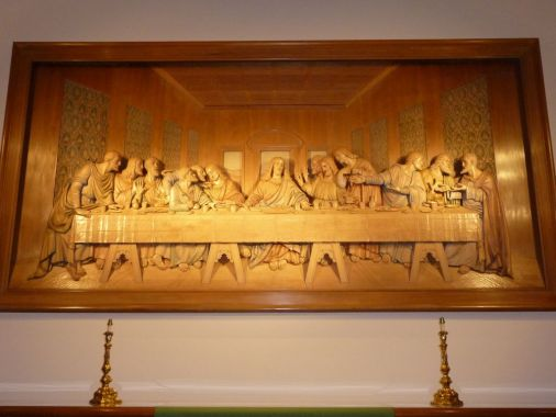 Woodcarving of Leonardo da Vinci's The Last Supper