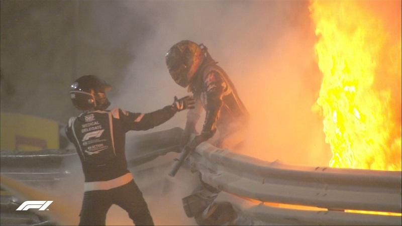 Impresionante accidente en F1, Grosjean logró salir de su auto envuelto en llamas