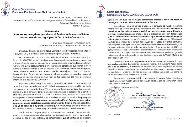 Exhorta Iglesia a evitar peregrinaciones y acudir al Santuario de San Juan de Los Lagos