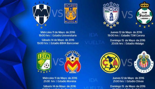 Listos los horarios de esta espectacular liguilla del Clausura 2016
