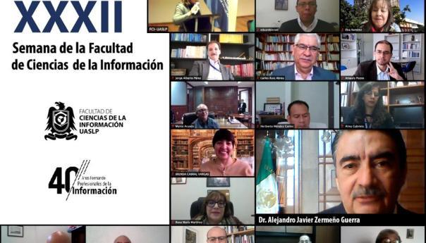 El rector de la Universidad Autónoma de San Luis Potosí, Alejandro Javier Zermeño Guerra, inauguró de forma virtual la XXXII Semana Academica de la Facultad de Ciencias de la Información