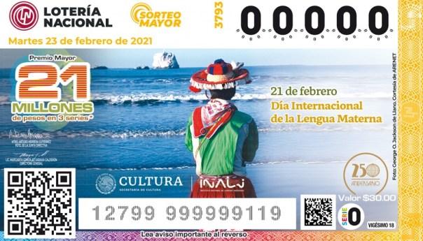 INALI y lotería nacional develan el billete alusivo al día internacional de la lengua materna
