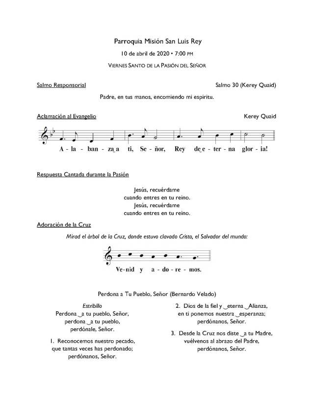 Music for 7pm Mass Good Friday