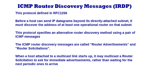 ICMP Router Discovery Messages (IRDP)