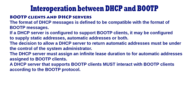 DHCP and BOOTP – Interoperation