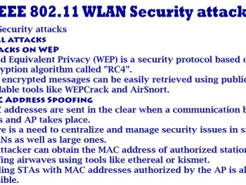 IEEE 802.11 WLAN Security attacks