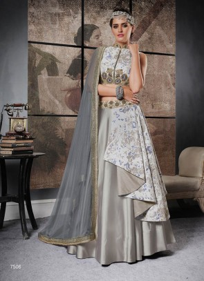 Attractive Look Grey Shade Designer Lehenga Choli