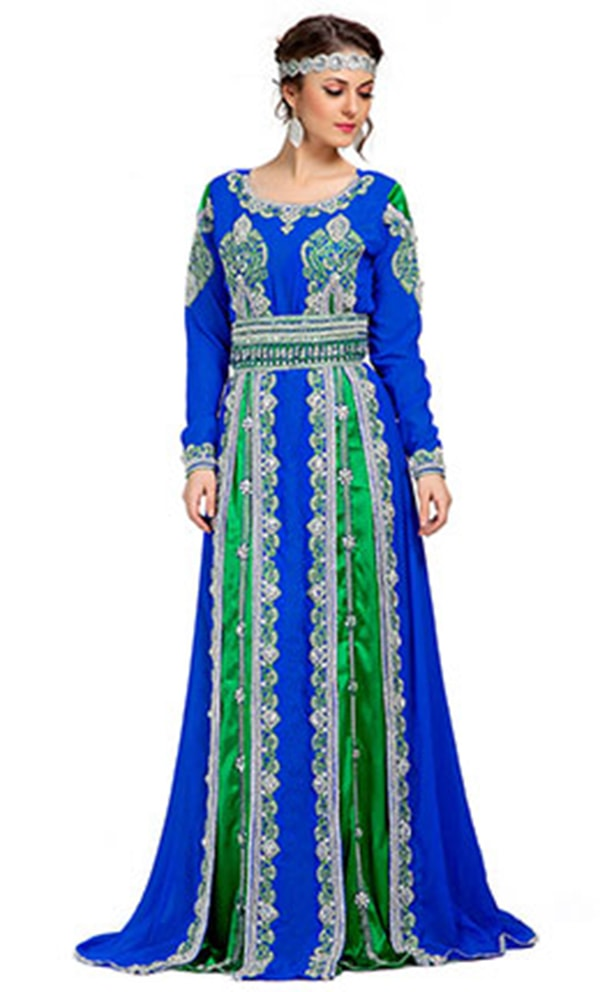Contemporary Smart Blue & Green Moroccan Elegant Kaftan
