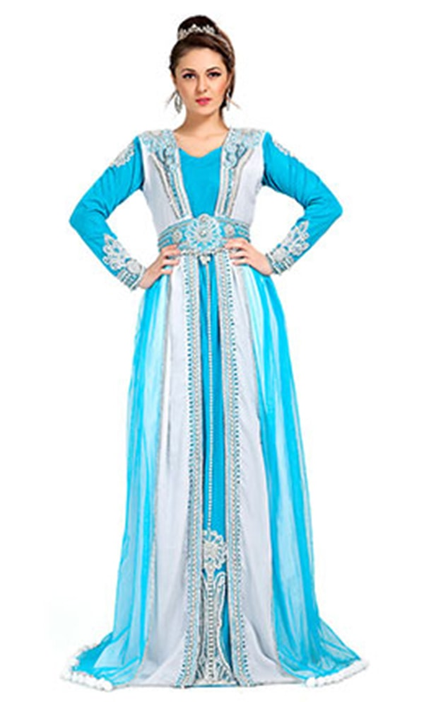 Designer Gorgeous Blue and White Moroccan Caftans