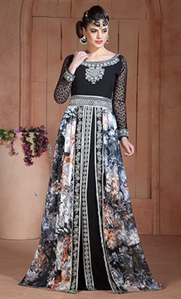 Gleaming and Black Color Party Wear Full sleeve Kaftan
