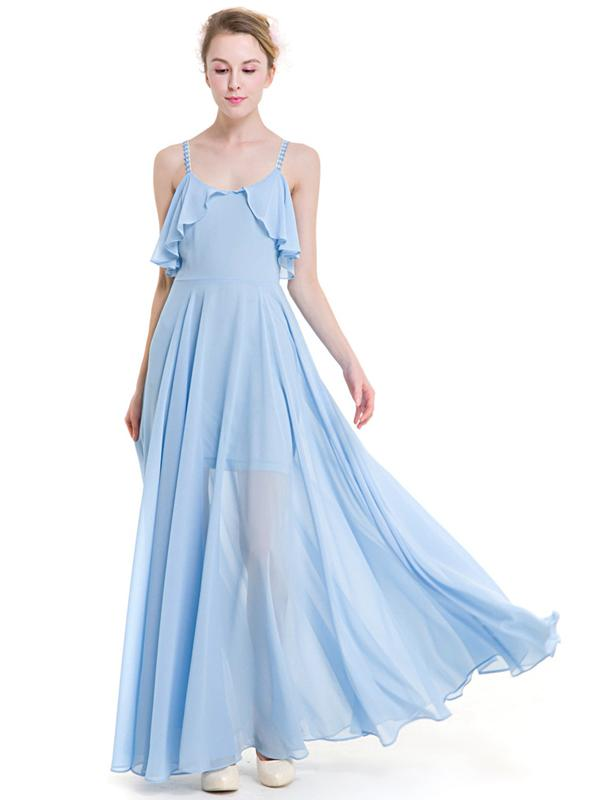 LaceShe Women's Chiffon Two Layer Bridesmaid Dress