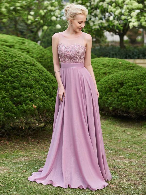 LaceShe Women's Sleeveless Stunning Bridesmaid Dress