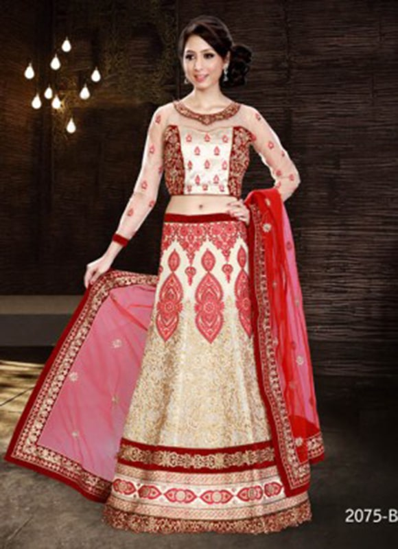 Off-White And Red Embroidery Work Lehenga-min