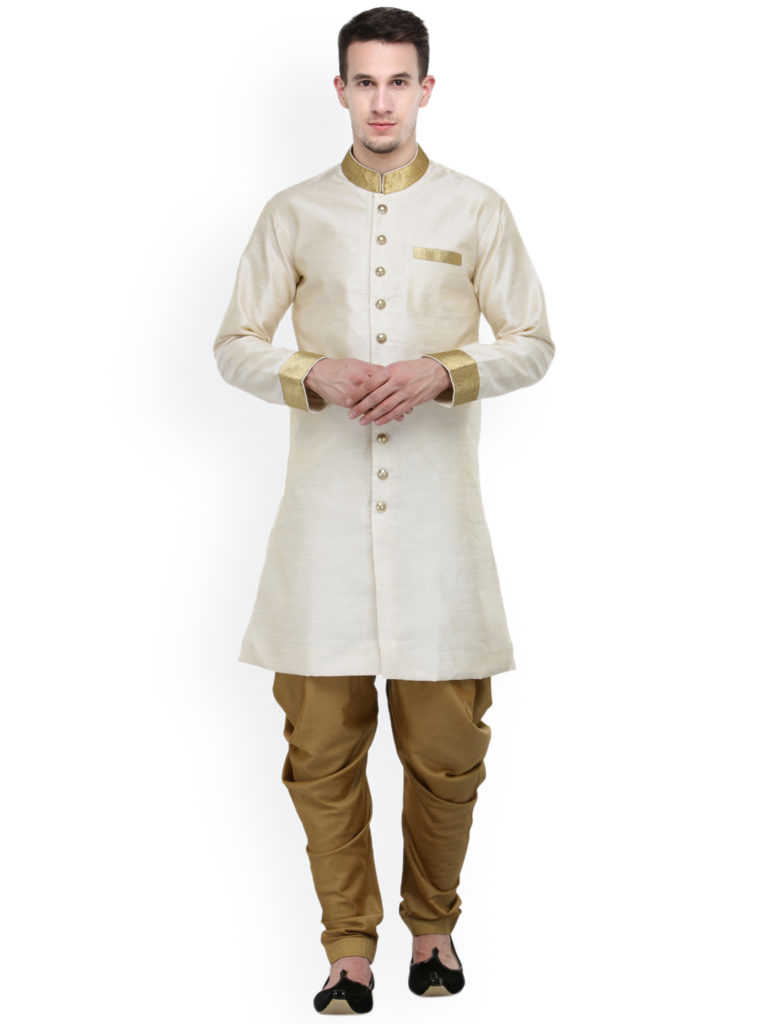 RG Designers Cream-Coloured & Brown Silk Sherwani