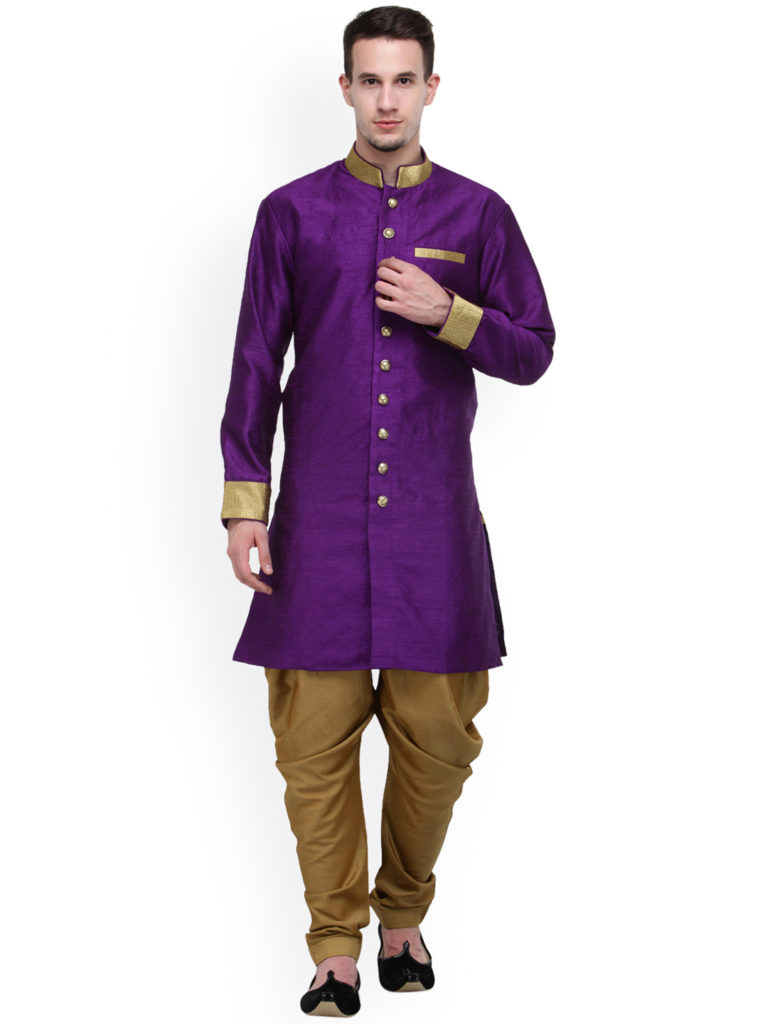 RG Designers Purple And Beige Silk Sherwani