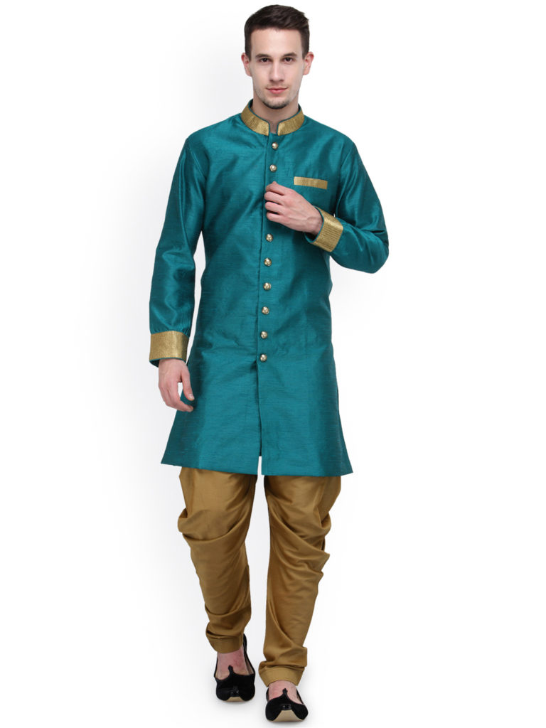 RG Designers Teal Blue And Beige Silk Sherwani