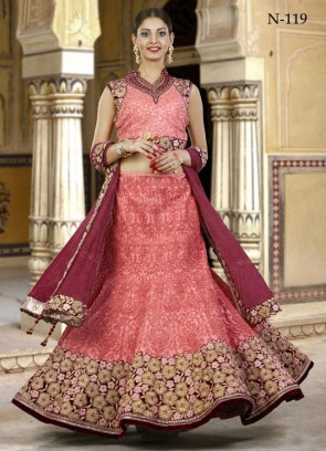 Shiny Peach Shade Lehenga Choli