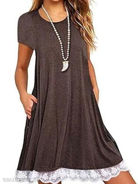Round Neck Patch Pocket Patchwork Shift Dress