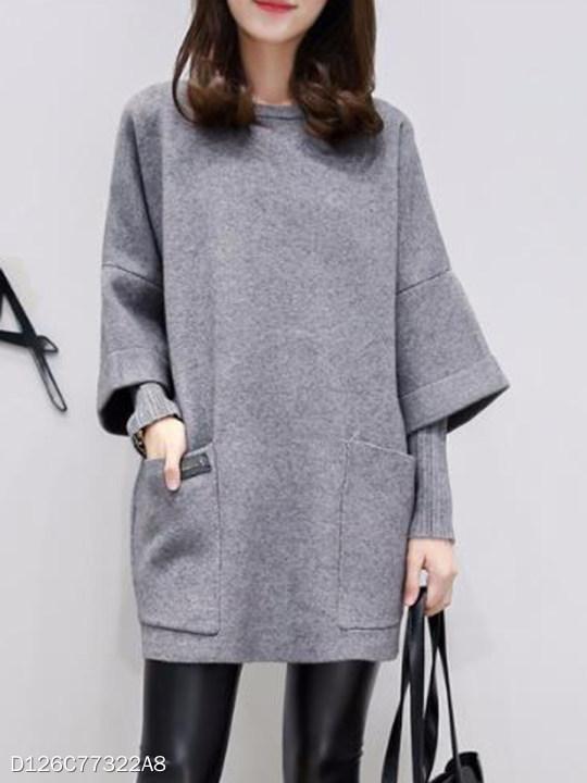 Round Neck Patch Pocket Plain Fake Two-Piece Shift Dress