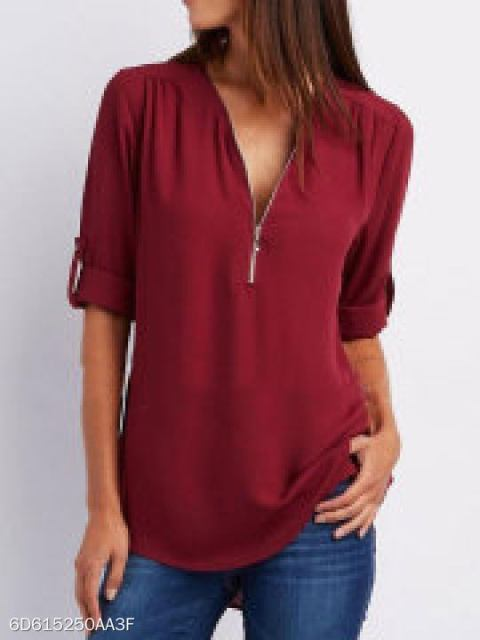 V-Neck Zips Plain Roll-Up Sleeve Long Sleeve Blouses