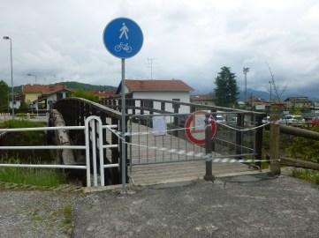Ponte pedonale tra Boves e San Mauro chiuso per motivi precauzionali e pista ciclabile interrotta