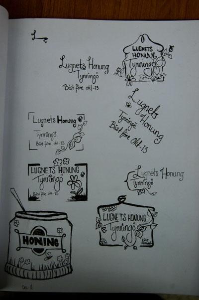 Olika idéer för Lugnets Honungloggan, bortsett från Honingsbuirken längst ner till vänster. Det är bara kladd