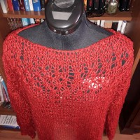 Stricken: Sommerkollektion #1 - roter Sommerpulli mit Muster