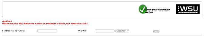 WSU Application Status