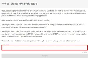 srd.sassa.gov.za Change Your Banking Details - SASSA R350 Grant