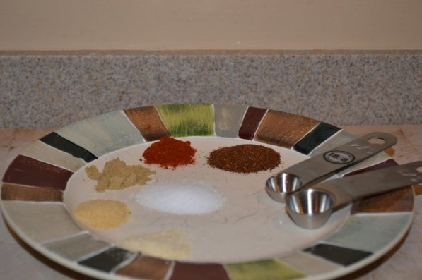 My spices.  In a rush, all you need is salt and pepper.