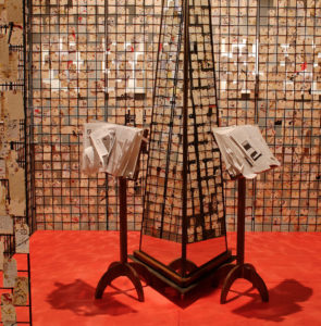 """This new art exhibit by Frank McEntire was installed recently in the Snow College Art Gallery. The exhibit, titled """"Spontaneous Memorial,"""" is artwork inspired by the aftermath of the 9/11 attacks."""
