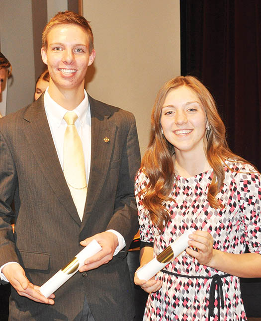 Manti High School had two category winners at the Central Region Sterling Scholar Awards: Jared Christensen (left), in Trade and Technical Education, and Alexa Vernon (right), in the Art category.