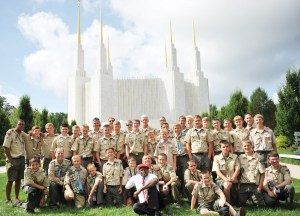 The Central Utah Troop in a group photo in front of the Washington D.C. LDS Temple, a tour stop in 2013 when the last national jamboree took place. Troop leaders who accompanied the 36 scouts were Gary Cole, Carl Larsen, Bevan Johnson and Lawrence Durtschi.