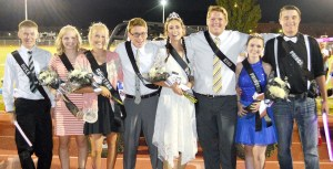 The 2016 Gunnison Valley High Homecoming royalty after the big game against North Summit on Saturday. (L-R): Duke Jacoby Zufelt and Duchess Kezzley Winn; Countess Katelyn Cherry and Court Parker Judy; Queen Audrey Overly and King Matt Carlisle; Princess Lindzey Harding and Prince Colton Roberts
