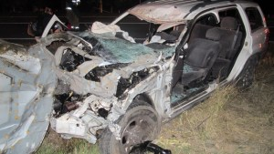 This is what a car looks like after it crashes into eight cows at highway speed. On Monday night, a couple did just that heading south of Fairview on U.S. 89 with their grandson, landing themselves in critical care and causing the deaths of all eight cows. - Photo courtesy Utah Highway Patrol