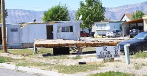 Remnants of a mobile home that has been torn down lie in front of other deteriorated trailers at a part near 200 West and 200 North in Ephraim. During a special meeting last week, the Ephraim City Council voted to crack down on code violations that city officials say threaten the health and safety of about 20 families. If necessary, the council said the park should be closed, even if such an action displaces the residents.