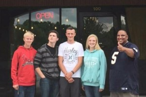 Students from North Sanpete High stand in front of singer Gladys Knight's Chicken and Waffles restaurant after competing in the Future Business Leaders of America national gathering over the summer in Atlanta, Ga. (L-R): Jordan Hope, Jace Macgoo, Jackson Blackhurst, Nicole Day and business teacher Andre Rainey.