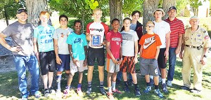 Varsity team winners of the 22nd annual Sanpete Challenge were from the Manti 8th Ward Team 1650. Team members are (L-R) Rawlin Anderson, Kaden Anderson, Jay Henningson, Jordan Blauer, Max Mickelson, Josh Blauer, Daniel Olson, Dustin Cook, Blake Meacham, Conner Meacham, Dale Henningson and Robert Miller. (Not pictured: Clayson Pace).