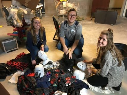 """Members of the Snow College Residence Hall association make preparations for the upcoming """"Scare at the Square Halloween"""" event. - Matt Harris / Messenger photo"""