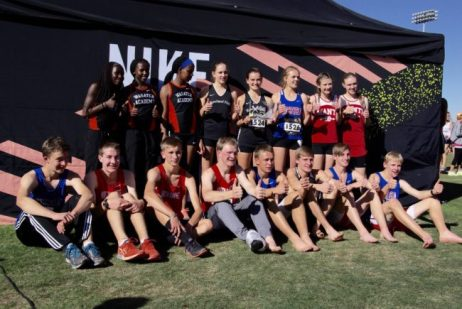 This group shot of the Central Utah students to compete in the Nike Cross Country Nationals (Southwest) Regional meet includes (back row, left to right) Ashley Lagat, Purity Kattam and Sheilah Cheruiyot, all from Wasatch Academy; Ella Vitek and Astrid Lindgren of Rowland Hall;  SeSe Southwick from Richfield; and Madison Norris and Allison Bishop of Manti; and (front row, left to right) Bryan Beard of Richfield; Vance Strait, Ethan Bowles, Carl Peel, all from North Sanpete; Daniel Dastrup from Richfield; Brayden Butler from Wasatch Academy; and Porter Peterson  and Nick Dastrup of Richfield. - Photo courtesy Bill Bedford